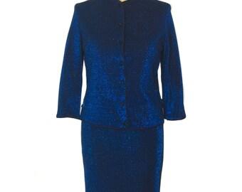 vintage 1960s blue lurex skirt suit / Gibralter Casuals / sapphire metallic shimmer / skirt jacket / women's vintage suit / size medium