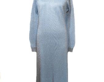 vintage 1970s ANNE FOGARTY lurex dress / knit sweater dress / blue silver / cage sleeves / women's vintage dress / size large