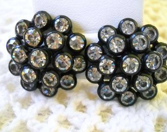 Vintage Rhinestone Earrings, Black Plastic and Clear Rhinestone Earrings, Art Deco Earrings, Clear Rhinestone Earrings, Craft Jewelry