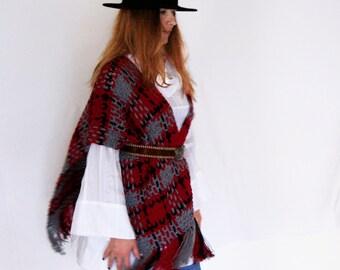Boho poncho, blanket poncho, plaid fringe poncho, crochet weave poncho, plaid fringe wrap, poncho in burgundy grey blue, ready to ship