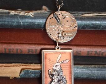 Steampunk Alice in Wonderland, Disney Jewelry, Alice in Wonderland Jewelry, White Rabbit Necklace, Disney Necklace, Steampunk Necklace