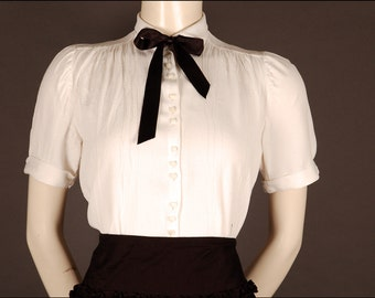 30s 40s cotton blouse offwhite size 10 12 (UK) 36 38 (D) 1930 1940