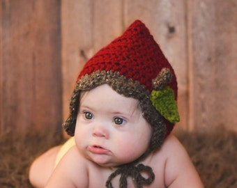 Crochet Baby Hat Apple Red Fall Thanksgiving Harvest Photo Prop  Bonnet