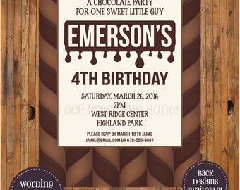 Chocolate Birthday Party Invitation - Chocolate Invitation - Item 0287