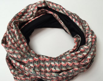 SALE Infinity scarf 'Waves' in B&W