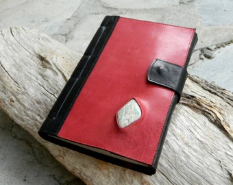 A5 Leather Journal with Australian Amazonite Black and Red Recycled Leather Diary Handbound Book