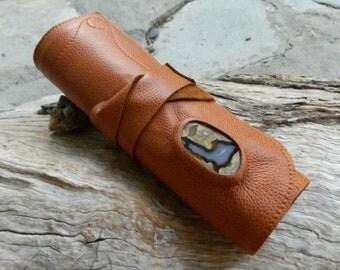 Tan Leather Art Case with Australian Rhyolite Thunder Egg Roll Up Art Tool Set Make Up Case Art Supply Case