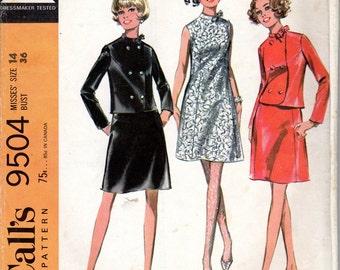 "1960s Women's Sleeveless A-Line Dress & Jacket Pattern- Size 14 Bust 36"" -McCall's 9504"