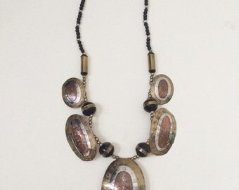 Vintage etched brass, copper and silver beaded necklace