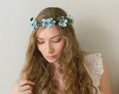 Budding Blue Flower Hair Wreath - Light Blue Floral Bridal Crown - Rustic Weddings