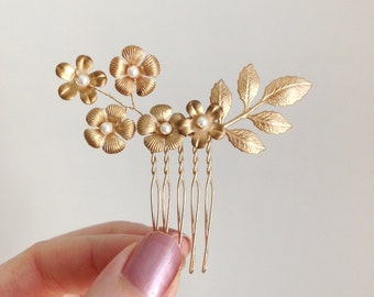 Blossoming Gold Leaf Comb - 'Sigrid' - hand wired Swarovski crystal pearls and brass flowers and leaves