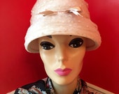 1950s Women's Hat Styles & History 1950s Vintage Proper Introduction CreamLace Bucket Hat by Brandt $25.00 AT vintagedancer.com