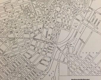 City of Boston Map / Vintage Map Decor / City Map Wall Art / 1939 Antique Map of Boston Massachusetts / Retro Travel Decor / Cambridge MA