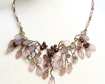 Purple Bridal Necklace , Winter Wedding Jewelry, Purple Bib Necklace, Amethyst Leaf Necklace, Faerie Necklace,