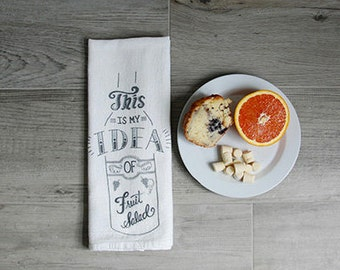 "Funny Dish Towel, Wine humor, Kitchen Towel, Dish Towel - ""This is my idea of Fruit Salad"" - Flour sack tea towels"