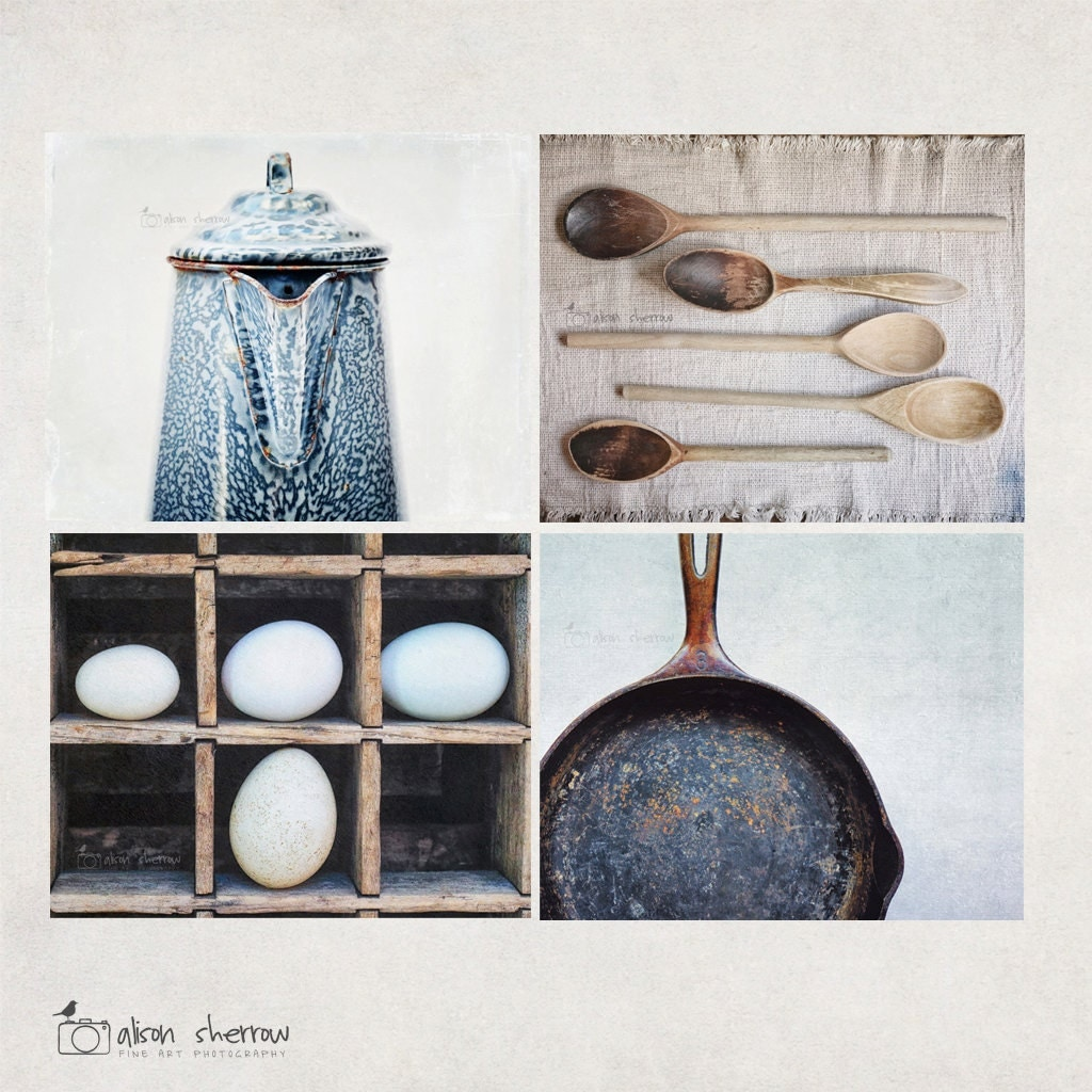 Farmhouse Kitchen Decor Fine Art graphy Blue Wall Art