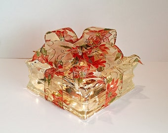 Light Up Glass Block / Present For Decoration With a Sheer Poinsettias Bow