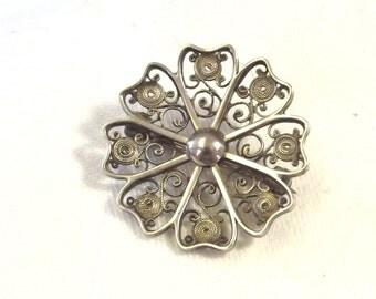 Vintage Filigree Flower Pin - Silver Filigree Jewelry - Spring Flower Brooch