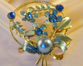 Vintage Blue Enamel Floral Brooch with Pearl and Blue Rhinestones - Amazing