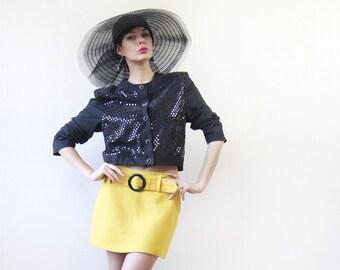 Vintage MEXX shiny disco sequin long sleeve blouse jacket blazer S-M