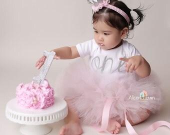 FIRST BIRTHDAY OUTFIT Girl, Cake Smash Outfit, Light Pink and Silver First Birthday Outfit, Birthday Tutu set, Tutu Headband and Bodysuit