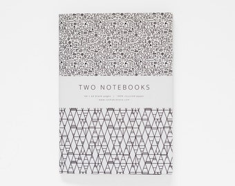 TWO NOTEBOOKS set III in A5 / black and white notebook / tribal notebook / blank journal