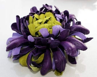 Green/purple/violet Leather Chrysanthemum Flower Brooch/ Hairclip