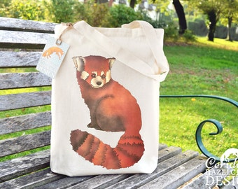 Red Panda Tote Bag, Ethically Produced Shopping Bag, Reusable Shopper Bag, Market Bag, Cotton Tote, Eco Tote Bag, Reusable Grocery Bag