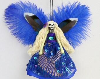 Day of the Dead Ornament, hanging ornament, Dias de Muertos Fairy decoration, OOAK