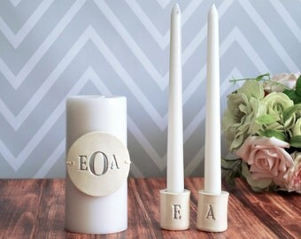 PERSONALIZED Unity Candle Ceremony Set with Ceramic Candle Holders - Gift Boxed