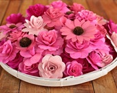 Wooden Flowers- 24 pcs - Pink - for Weddings, Home Decorations, Scrapbooking and Floral Arrangements