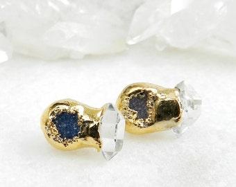 druzy earrings, druzy stud earrings, druzy studs, herkimer diamonds, diamond earrings , gold earrings