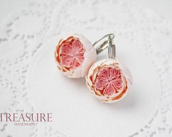English rose earrings, pink rose earrings, David Austin rose earrings, wedding rose earrings, flower rose earrings, pink