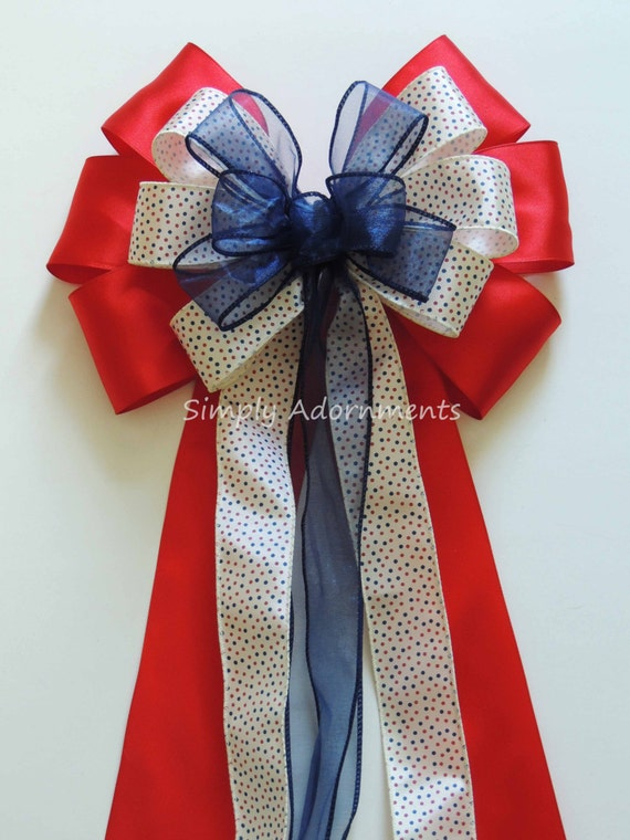 Patriotic Wedding Pew Bow July 4th Wreath Bow Red Navy Bling Wedding Aisle decoration Patriotic Wedding Chair Bow 4th of July Gift Bow