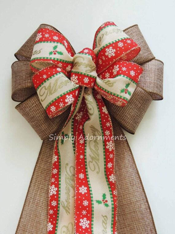 Merry Christmas Scripts Bow Burlap Christmas Wreath Bow Rustic Burlap Christmas Scripts Bow Christmas Holly Wreath Bow Door Hanger Decor Bow