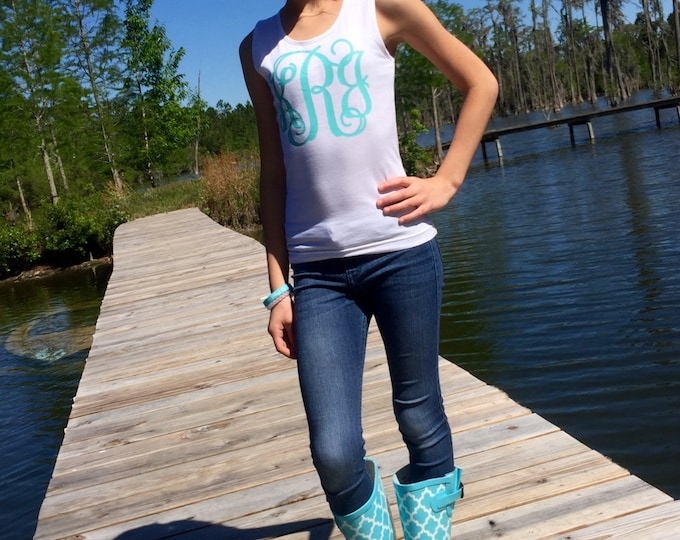 Monogrammed Tank tops, Custom Tank Top, Girls Monogram tank top, Bridesmaid Tank Tops, Mom and Daughter Monogram Tank Tops