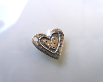 Sterling Silver 925 Artisan style heart charm oxidized finish 13mm x 13mm  charm bracelets country chic