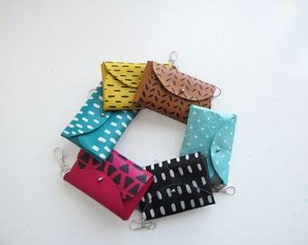 Small Leather Pouch, Credit card holder, Key holder, Small wallet, Printed Leather