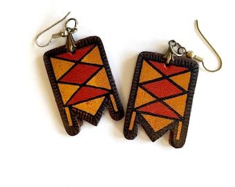Vintage Boho Painted Leather Earrings
