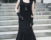 "Organic Cotton Sleeveless Maxi Dress Size Med to Large - Length 56"" - Black"