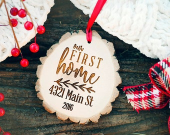 Our First Home Wood Ornament, Wood First Home Ornament, Tree Slice Our First Home Ornament, Rustic Our First Home Ornament, Ornament gift