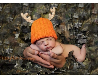 Crochet Hat -  Baby Antler Hat - Baby Deer Hat - Daddy's Little Deer Hunter - Newborn/Infant Blaze Orange / Pink / Brown