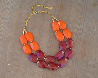 Maroon and Orange Statement Necklace - Virginia Tech Game Day Necklace - Maroon Bead Orange Bead Necklace - Virginia Tech Wedding Necklace