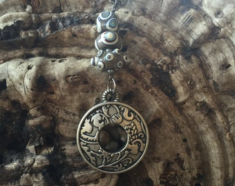 Silver Decorative Medallion with Lampwork Beads Pendant Necklace