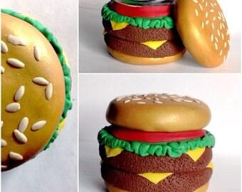 Cheeseburger Hamburger Burger Polymer Clay Stash Jar -Made To Order-