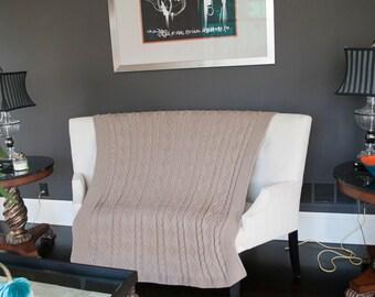 Large Taupe Blanket Throw Handknit Blanket