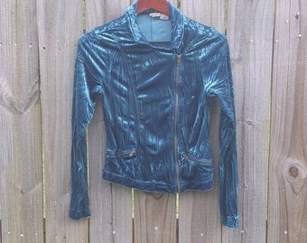 S M Small Medium 90s Turquoise Blue Crushed Velvet Zipper Club Kid Sexy Raver Grunge Indie Hipster Vintage Mudd Top Shirt Blouse