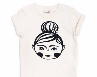 "Free US Shipping/ ""Top Knot Girl"" Organic Tee shirt/ Girl Gift/ Girly Present/ Toddler/ Tots Modern Hip Children Kids Tops Illustration Hair"