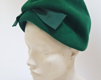 sale 1960s Emerald Green Wool Turban Hat