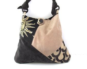 Black and Beige Hobo Bag Slouch Bag Sling Bag Shoulder Bag Everyday Bag